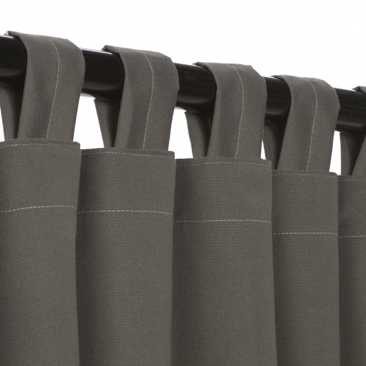 Sunbrella Canvas Charcoal Outdoor Curtain with Tabs