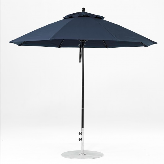 9 Ft. Pulley Lift Fiberglass Market Umbrella with Black Pole
