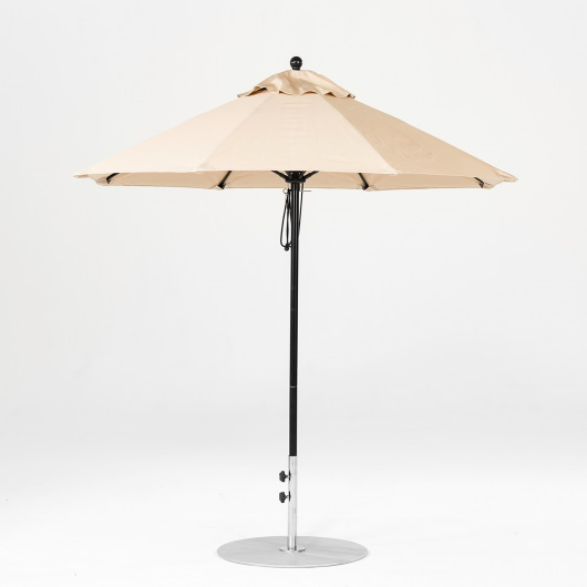 7.5 Ft. Pulley Lift Fiberglass Market Umbrella with Black Pole