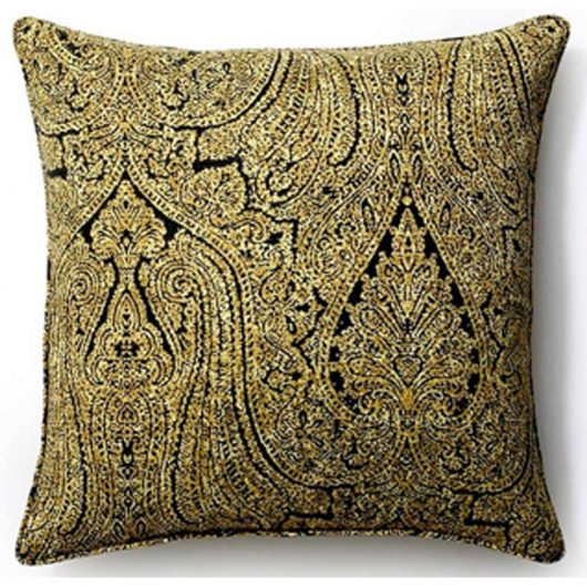 20in x 20in Ebony Paisley Outdoor Pillow