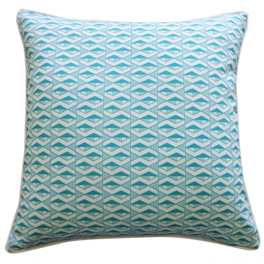 20in x 20in Teal Geofish Outdoor Throw Pillow