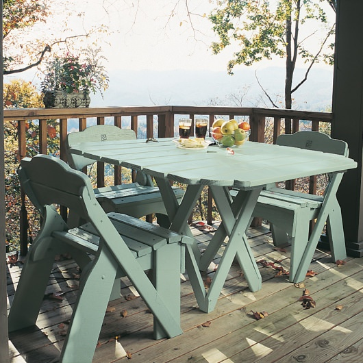 Fanback Collection Square Picnic Table - Poly -
