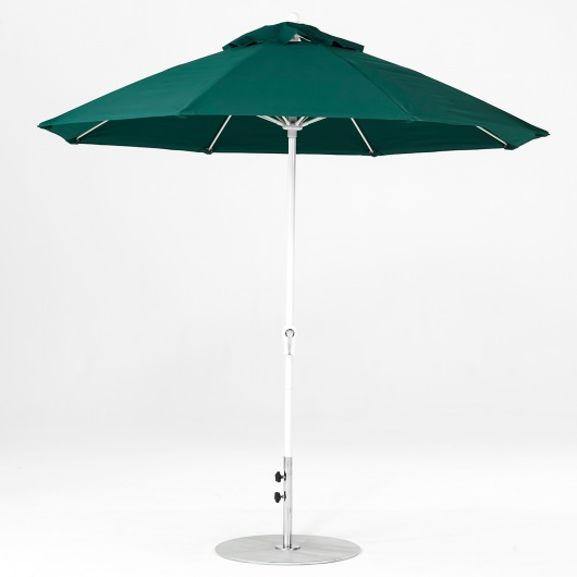9 Ft. Crank Lift Fiberglass Market Umbrella with White Pole