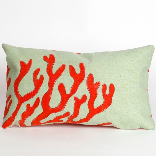 Coral Red Outdoor Pillow
