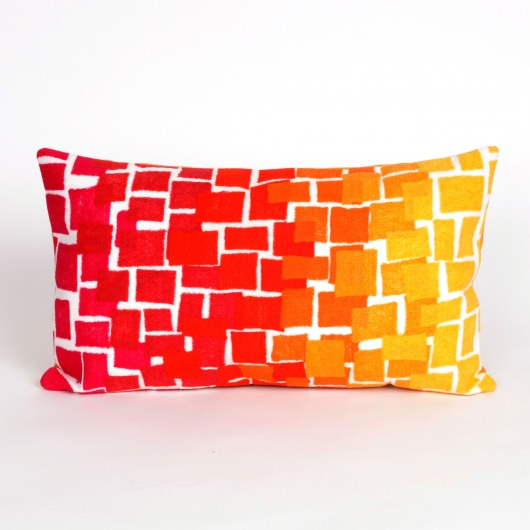 Ombre Tile Warm Outdoor Pillow