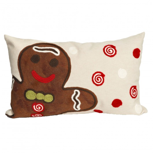 Gingerbread Boy Holiday Outdoor Pillow