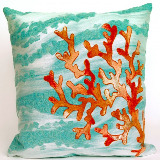pillows outdoor beach grande designer blue pillow coral throw house products