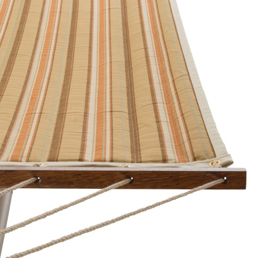 Large 2 Person Soft Polyester Quilted Hammock - Beige and Orange Stripe