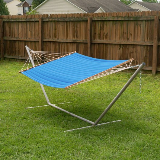 Large 2 Person Soft Polyester Quilted Hammock - Bright Blue