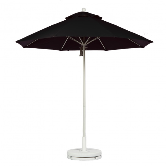 9 Ft. Black Pulley Fiberglass Market Umbrella with White Pole