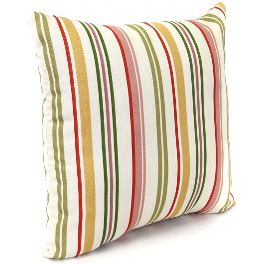 Jolene Ivory Striped Outdoor Pillow (16in x 16in)