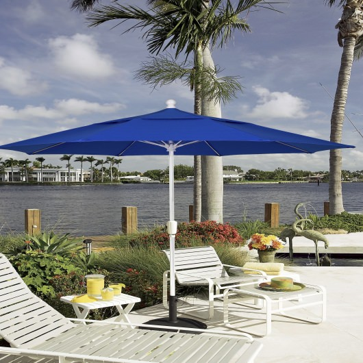 9 Ft. Crank Terrace Umbrella with White Pole