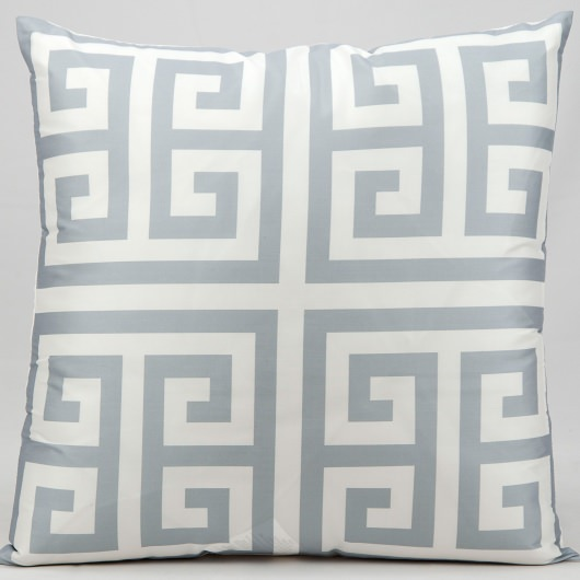 Mina Victory Greek Key Grey Outdoor Pillow