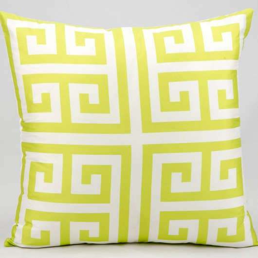 Mina Victory Greek Key Lime Outdoor Pillow
