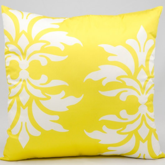 Mina Victory Double Damask Yellow Outdoor Pillow