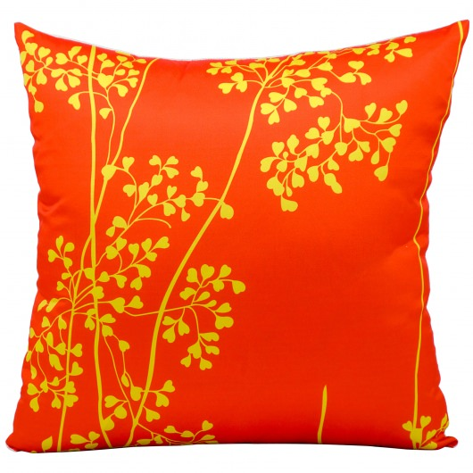 Mina Victory Weeds Orange Outdoor Pillow