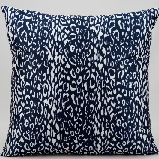 Mina Victory Leopard Print Navy Outdoor Pillow