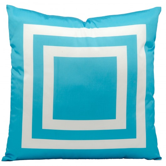 Mina Victory Squares Turquoise Embriodered Outdoor Pillow