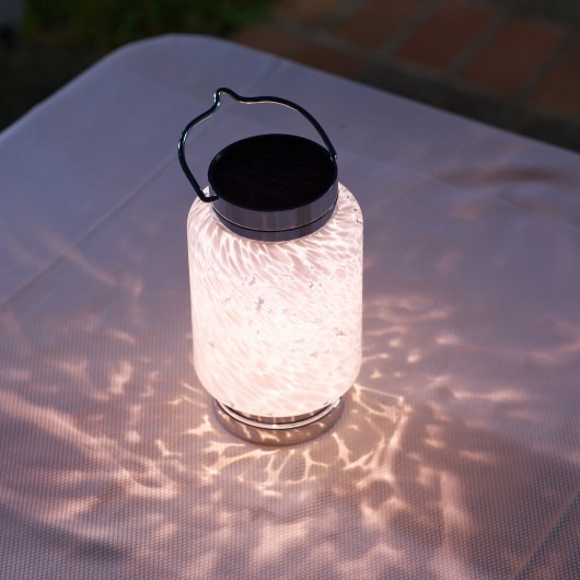 Soji Solar Boaters Cylinder Glass Lantern in White
