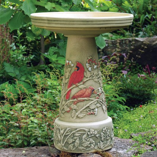 Clay Summer Cardinal Bird Bath