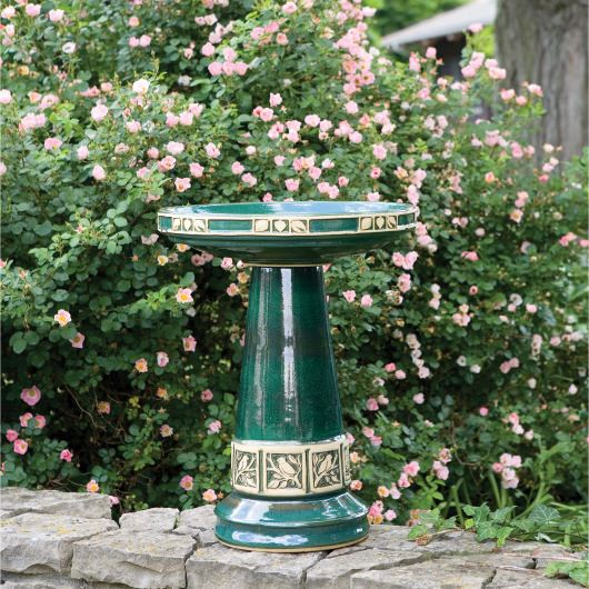 Clay Zanesville Bird Baths Jupiter Green