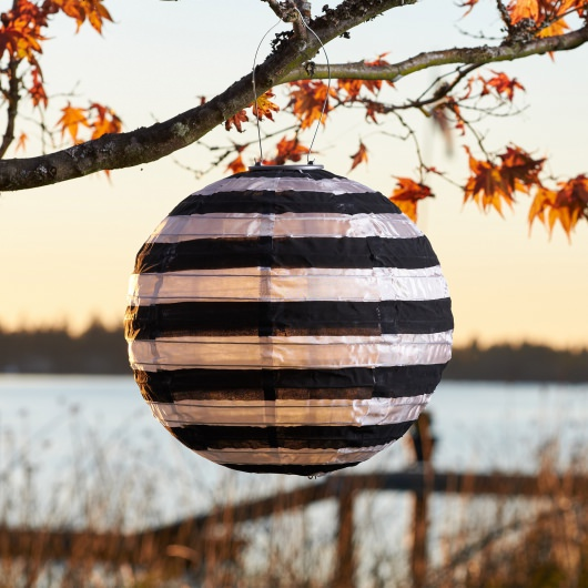 Soji Black and White Stripe Solar Lantern