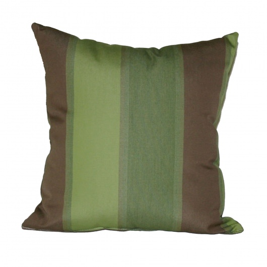 Green and Brown Stripe Outdoor Throw Pillow 16 in. x 16 in. Square