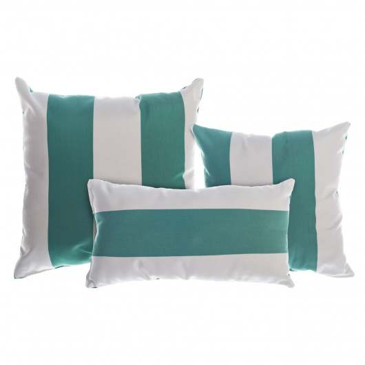 Resort Stripe Jade Sunbrella Outdoor Throw Pillow