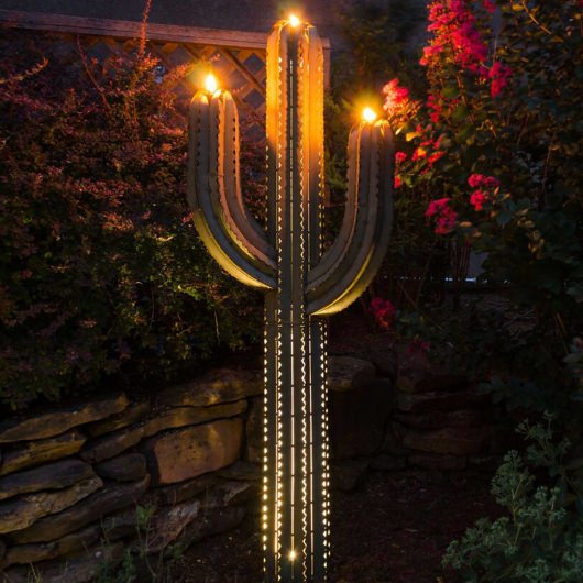5 ft Saguaro Cactus with Three Torches