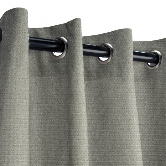 Sunbrella Canvas Charcoal Outdoor Curtain with Grommets