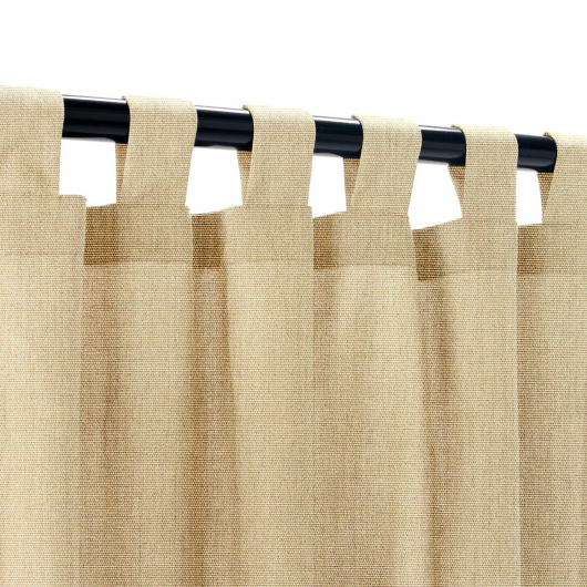Sunbrella Canvas Heather Beige Outdoor Curtain with Tabs