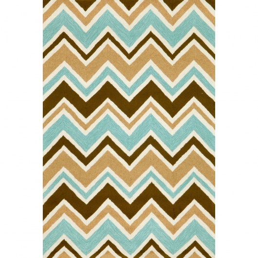 Capri See Saw Chevron Aqua Outdoor Rug
