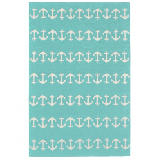 Capri Anchor Aqua Outdoor Rug