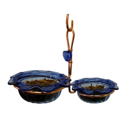Copper Double Cup Bluebird Feeder