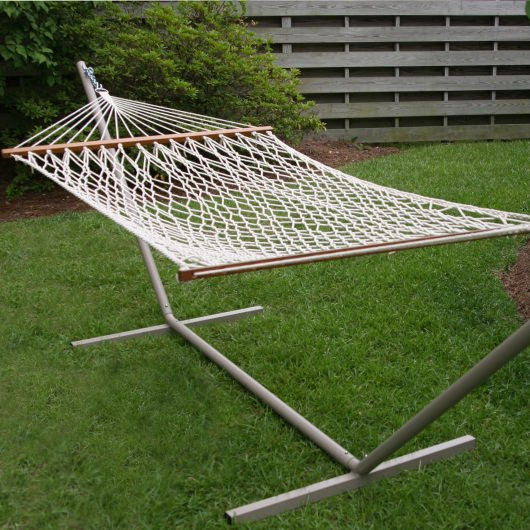Small Cotton Rope Hammock with Stand