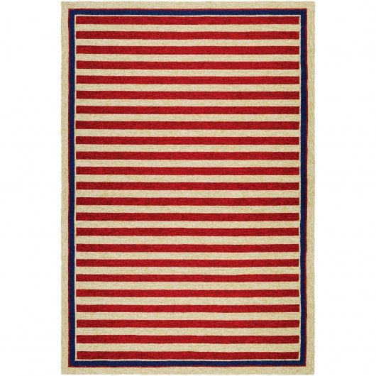Covington Nautical Stripes Red and Navy Outdoor Rug