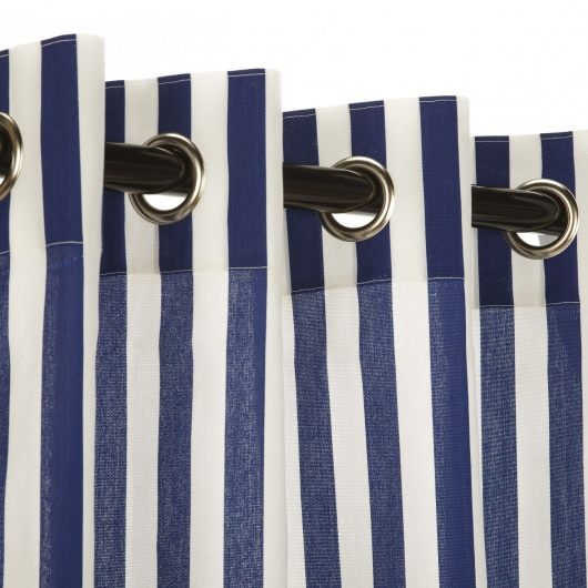 Polyester Outdoor Curtain- Nickel Grommets - Cabana Blue