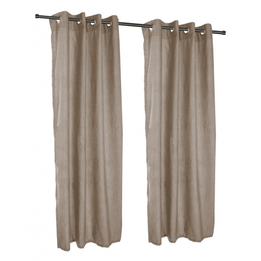 Cast Shale Sunbrella Nickel Grommeted Outdoor Curtain