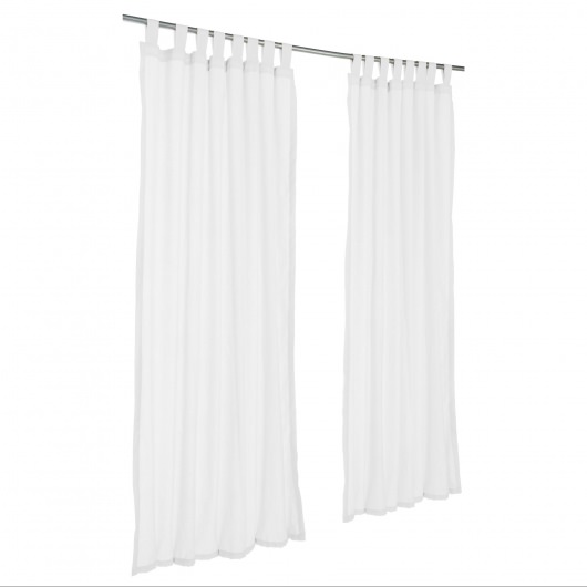 Sunbrella Sheer Snow Outdoor Curtain with Tabs