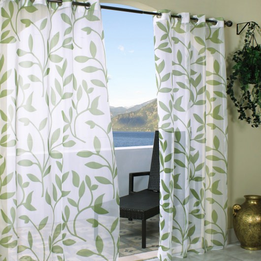Sheer Green Leaf Outdoor Curtains with Grommets
