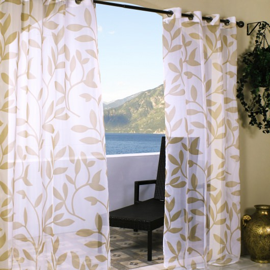 Sheer Khaki Leaf Outdoor Curtains with Grommets