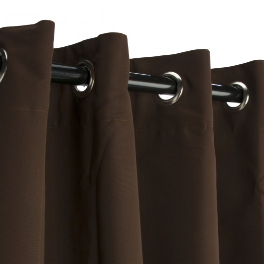 Sunbrella Canvas Bay Brown Outdoor Curtain with Grommets