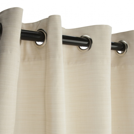 Sunbrella Dupione Pearl Outdoor Curtain with Nickel Plated Grommets and Stabilizing Grommets 50 in. x 84 in.