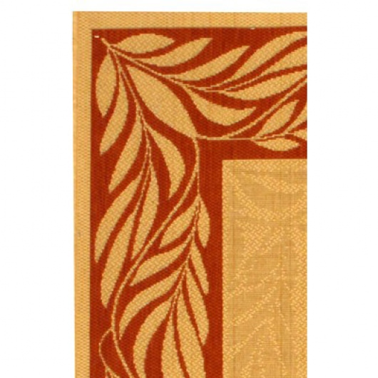 Courtyard Fern River Border Natural / Terracotta Outdoor Rug 5ft 3in
