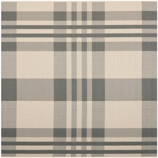 Courtyard Plaid Grey/Bone Outdoor Rug