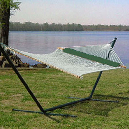 XL 60 Inch Wide Traditional Cotton Rope Hammock with Hanging Hardware and FREE Green Pillow