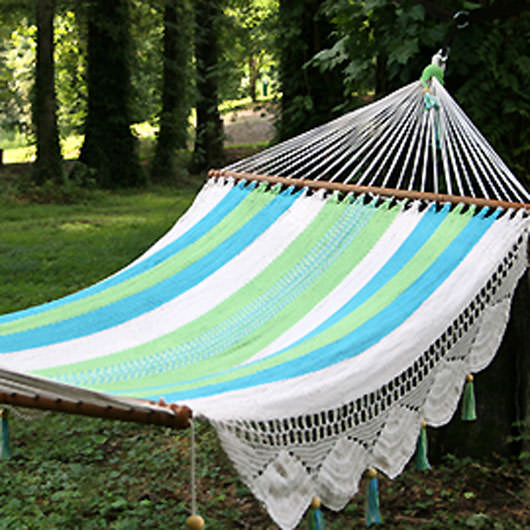 Deluxe Mayan Hammock with Spreader - Turquoise Stripe