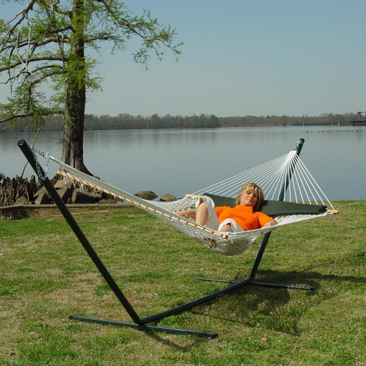 Deluxe Hammock with Stand and Pillow