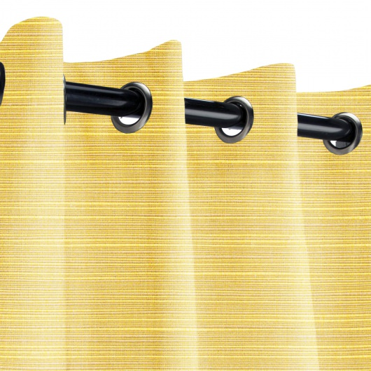 Sunbrella Dupione Cornsilk Outdoor Curtain with Nickel Grommets