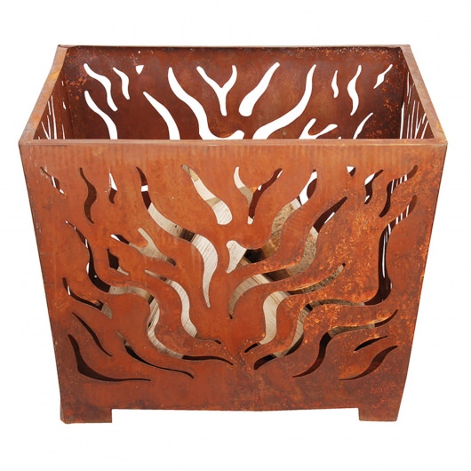 Fire Basket-Laser Cut Flames, Sheet Metal-Rust finish- Med